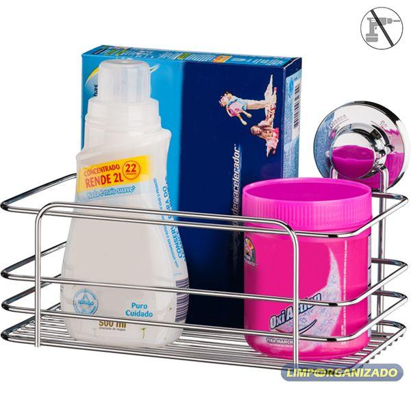 Cesto Suporte Metal Cozinha Banheiro Multiuso Ventosa Future  - Limpo e Organizado