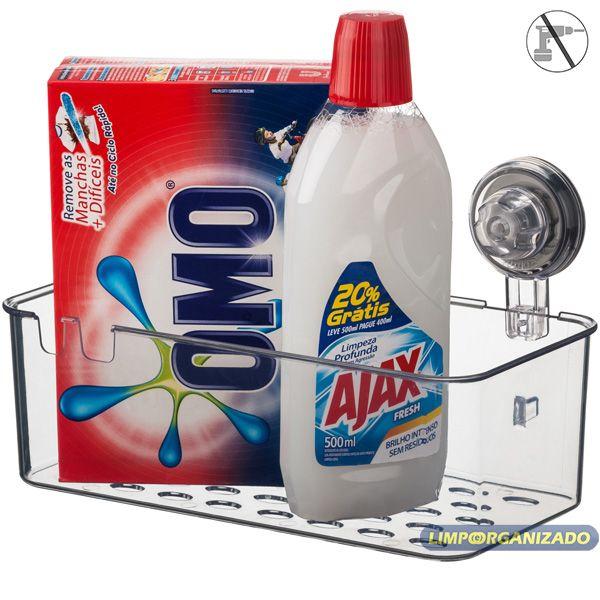 Cesto Suporte Plástico Cozinha Banheiro Multiuso Ventosa Future  - Limpo e Organizado