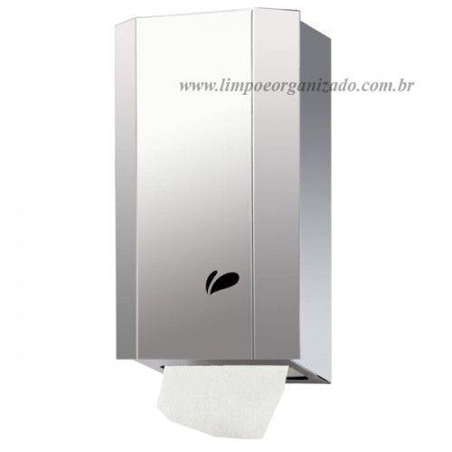 Dispenser inox com chave para papel higiênico interfolhado  - Limpo e Organizado