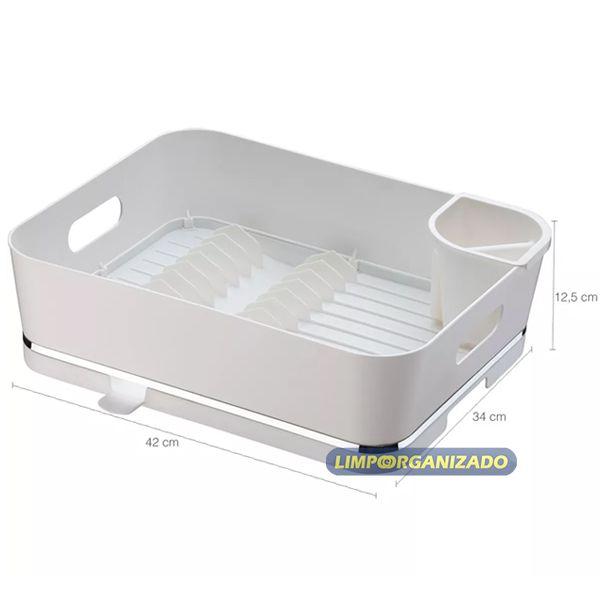 Escorredor de louças  com porta talher Eleganza Branco Future  - Limpo e Organizado