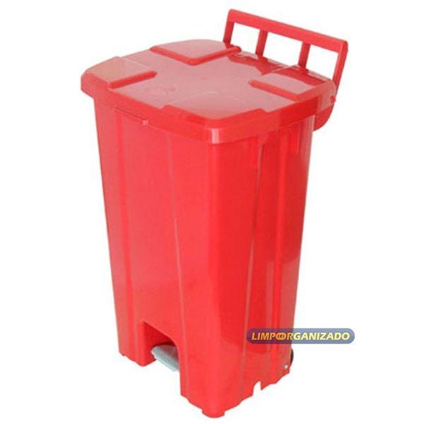 Lixeira 100 litros quadrada com pedal e rodas   - Limpo e Organizado