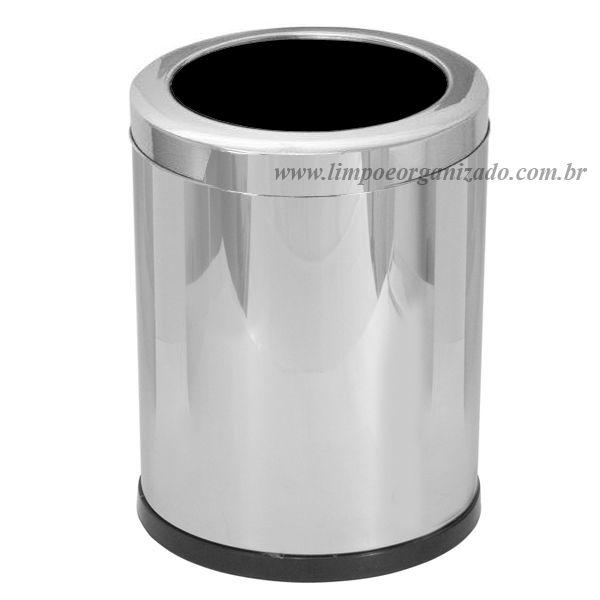 Lixeira 13 litros  com aro aço inox   - Limpo e Organizado