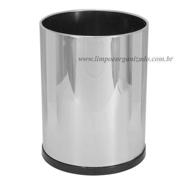Lixeira 13 litros sem tampa aço inox   - Limpo e Organizado
