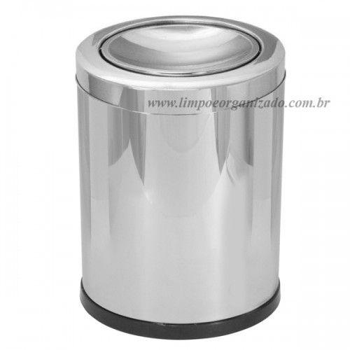 Lixeira 14 litros Aço Inox Tampa Meia-esfera  - Limpo e Organizado