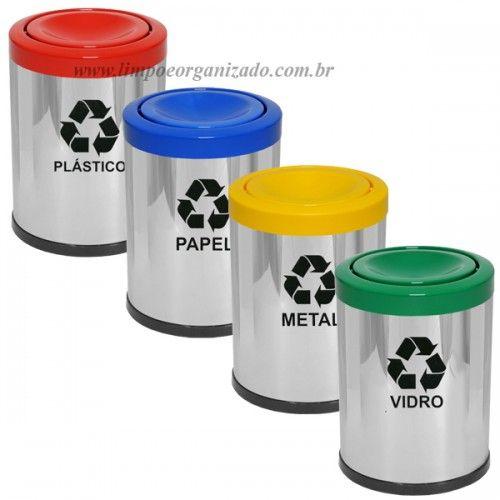 Lixeira 14 litros Inox tampa meia-esfera plástica - Individuais   - Limpo e Organizado