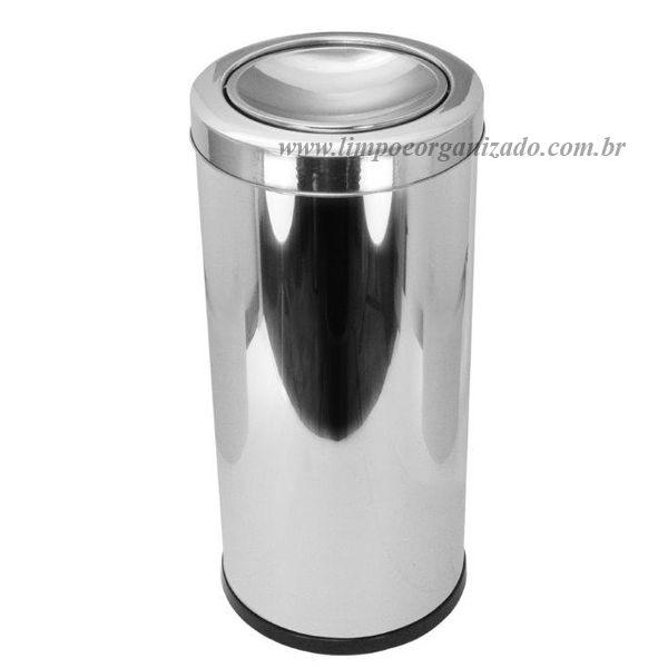 Lixeira 20 litros Aço Inox Tampa Meia-esfera  - Limpo e Organizado