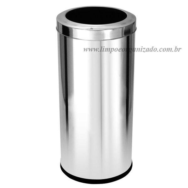 Lixeira 22 litros com aro aço inox   - Limpo e Organizado