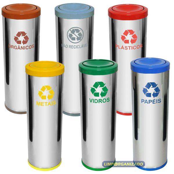 Lixeira 30 litros aço inox com tampa meia-esfera em plástico  - Limpo e Organizado
