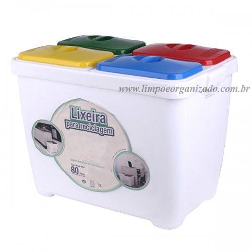 Lixeira Seletiva 4 x 1 para Coleta reciclagem  - Limpo e Organizado