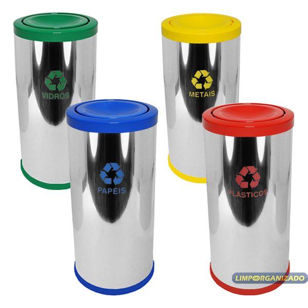 Lixeira 50 litros aço inox com tampa meia-esfera em plástico  - Limpo e Organizado
