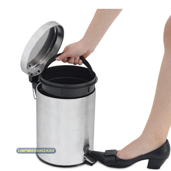 Lixeira 5 litros com pedal e cesto interno BR Plus aço inox Tramontina  - Limpo e Organizado