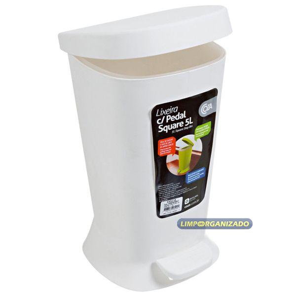 Lixeira 5 litros com pedal Square Branca - Coza  - Limpo e Organizado
