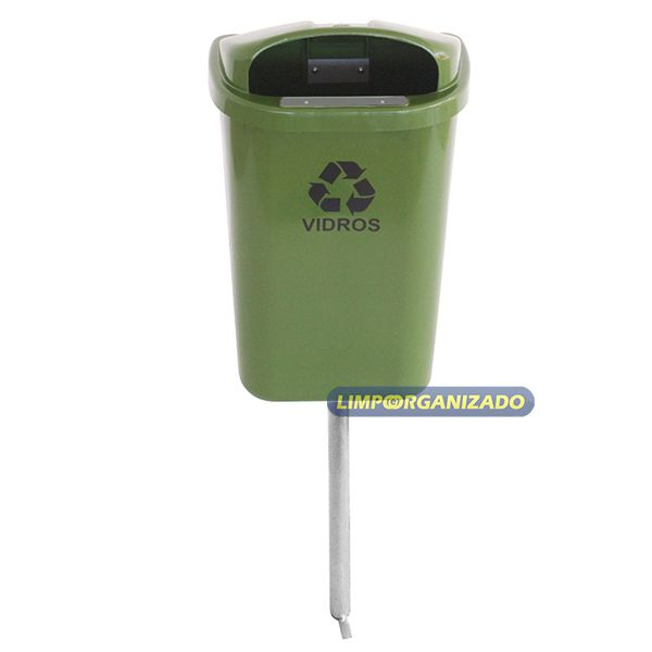 Lixeira 50L para coleta seletiva individual com poste  - Limpo e Organizado