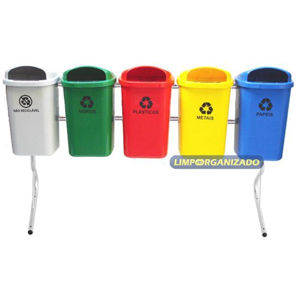 Lixeira 50L para coleta seletiva com 5 unidades  - Limpo e Organizado