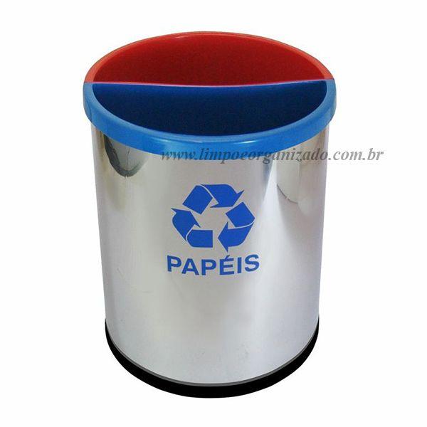 Lixeira seletiva com 2 divisões aço inox  - Limpo e Organizado