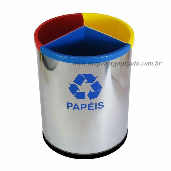 Lixeira seletiva com 3 divisões aço inox  - Limpo e Organizado