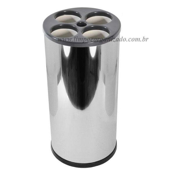 Lixeira Tubular Inox 24x50 para Copos de  água  - Limpo e Organizado