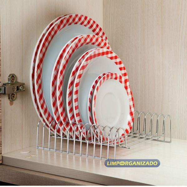 Organizador Suporte de Pratos para armários 12 Posições Future  - Limpo e Organizado