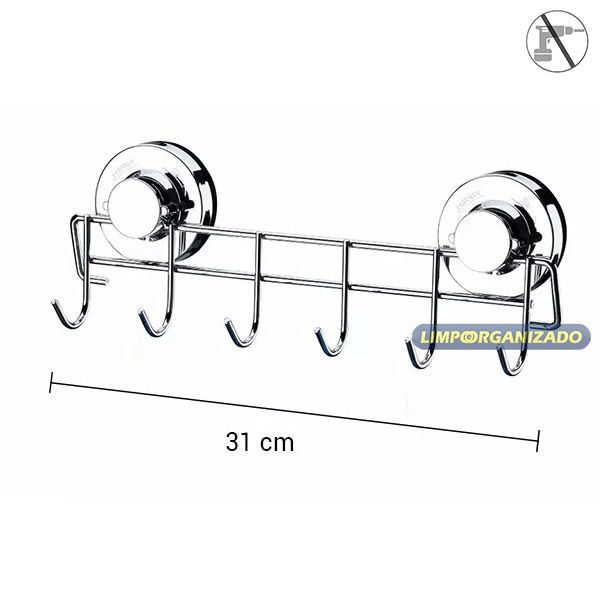 Suporte Vassouras Rodo Multiuso 6 posições com ventosa Future  - Limpo e Organizado