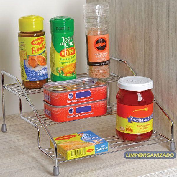 Organizador suporte metálico triplo armário e pia Future  - Limpo e Organizado