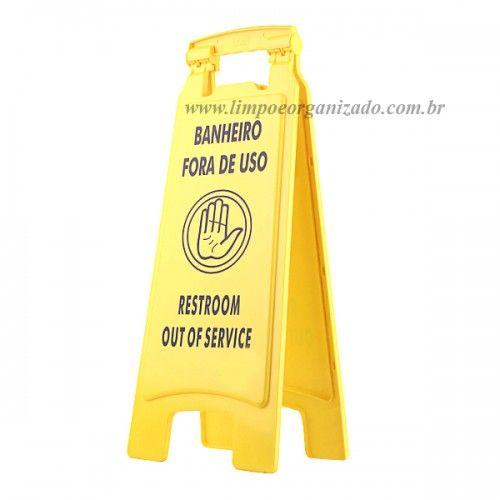 Placa Sinalizadora Banheiro Fora de Uso  - Limpo e Organizado