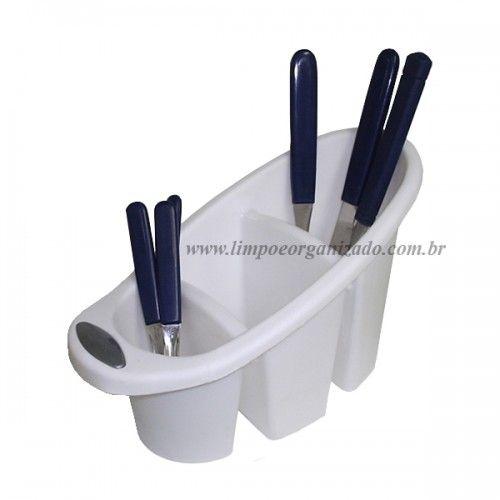 Porta talheres com Três Divisórias  - Limpo e Organizado