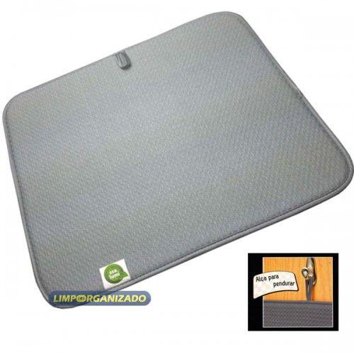 Tapete microfibra para secar louças 40 X 45 cm Cinza  - Limpo e Organizado