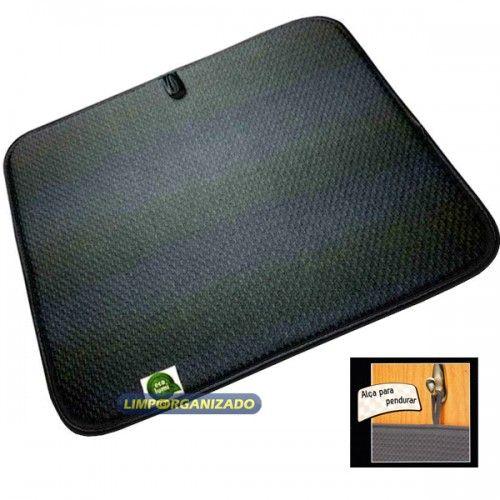 Tapete microfibra para secar louças 40 X 45 cm Preto  - Limpo e Organizado