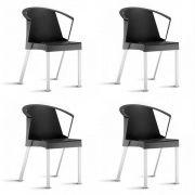 Cadeira Fixa Shine com Braço - Kit com 4 unidades