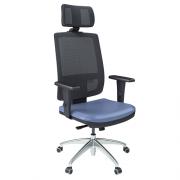 Cadeira Presidente Brizza Tela com Apoio de Cabeça Base Alumínio