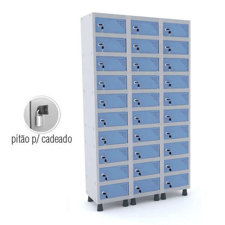 Armário Porta Objetos 30 Portas GRP-503/30 PO com Pitão para Cadeado
