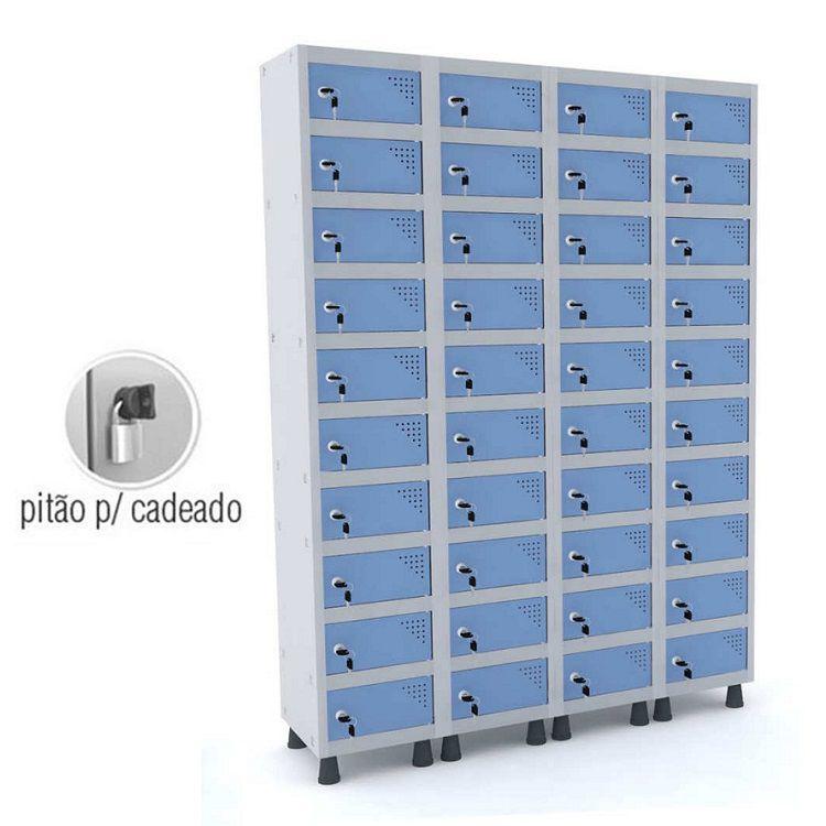 Armário Porta Objetos 40 Portas GRP-504/40 PO com Pitão para Cadeado