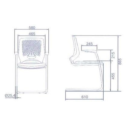 Cadeira Beezi Fixa S Contínua - Kit com 2 unidades