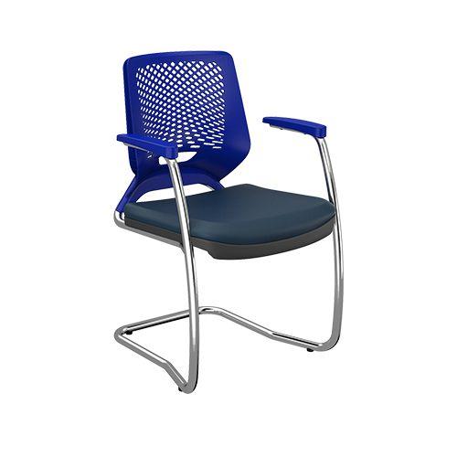 Cadeira Beezi Fixa S Contínua Cromada - Kit com 2 unidades