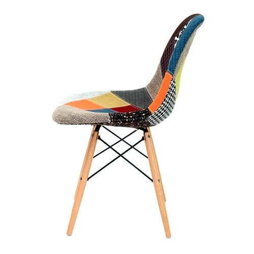 Cadeira Eiffel Patchwork Base Madeira