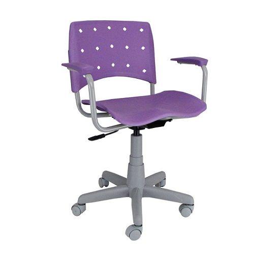 Cadeira Ergoplax Secretária Giratória Base Cinza