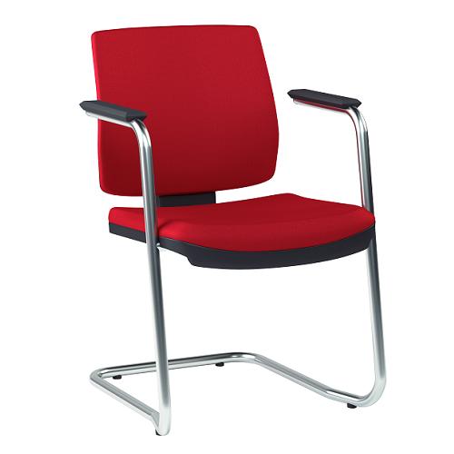 Cadeira Executiva Brizza Soft Fixa Contínua Cromada - Kit com 2 unidades