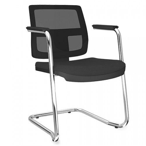Cadeira Executiva Brizza Tela Fixa Contínua Cromada - Kit com 2 unidades