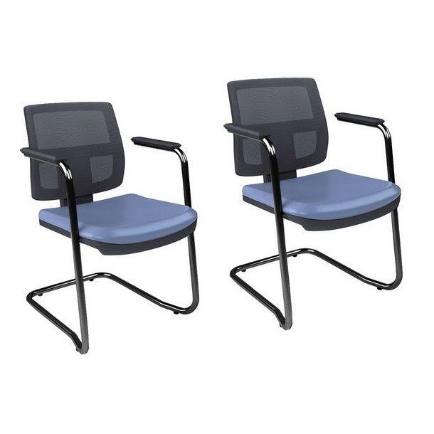 Cadeira Executiva Brizza Tela Fixa Contínua - Kit com 2 unidades