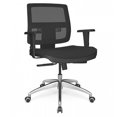 Cadeira Executiva Brizza Tela Giratória Base Alumínio
