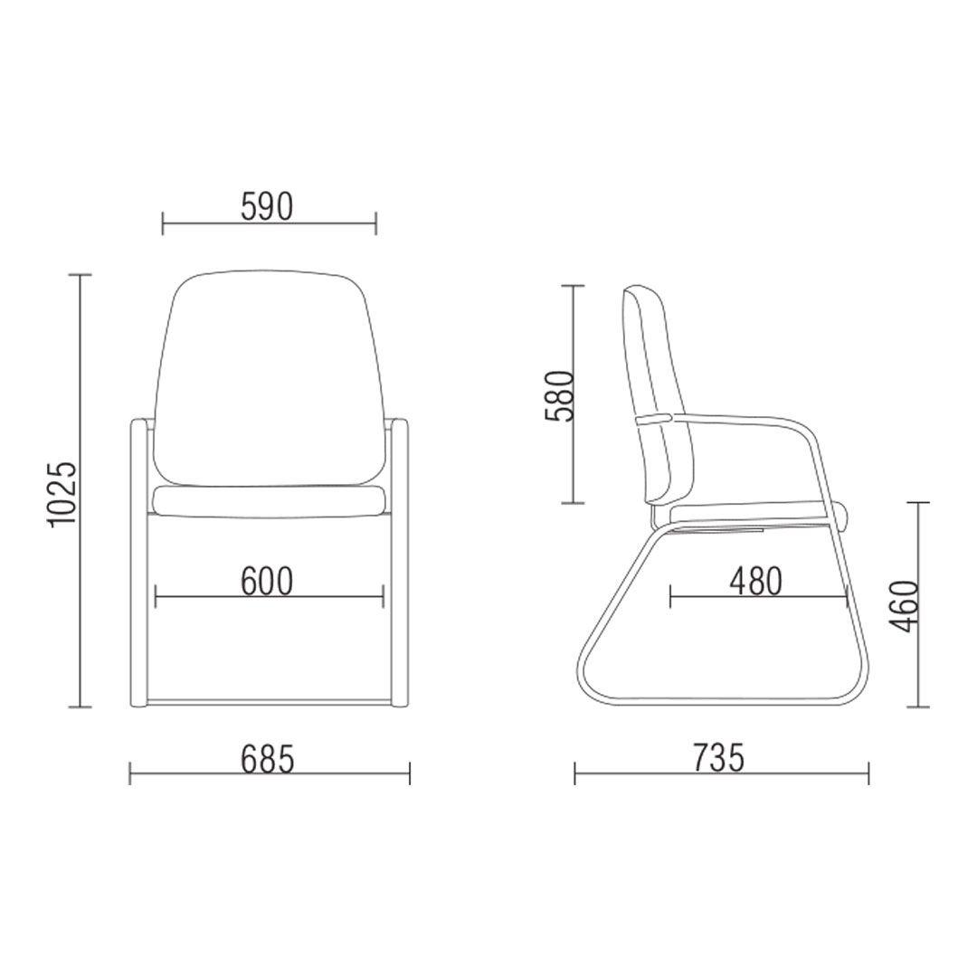 Cadeira Maxxer Fixa Cromada - Capacidade para 150kg