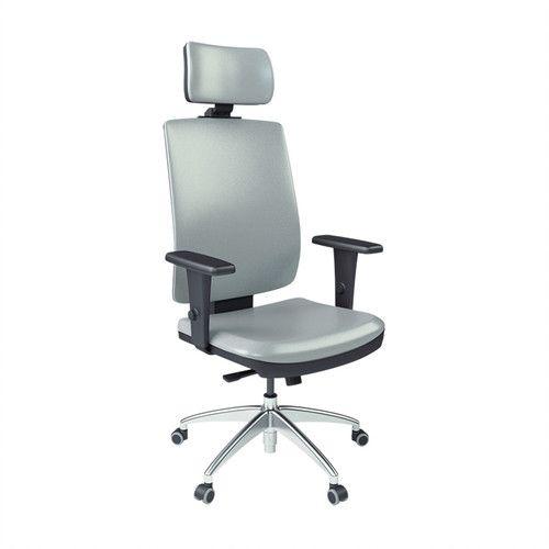 Cadeira Presidente Brizza Soft com Apoio de Cabeça Base Alumínio