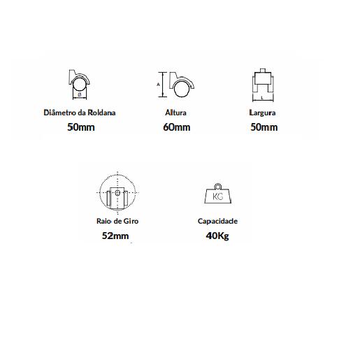 Kit de 5 Rodízios em PP para Cadeiras de Escritório