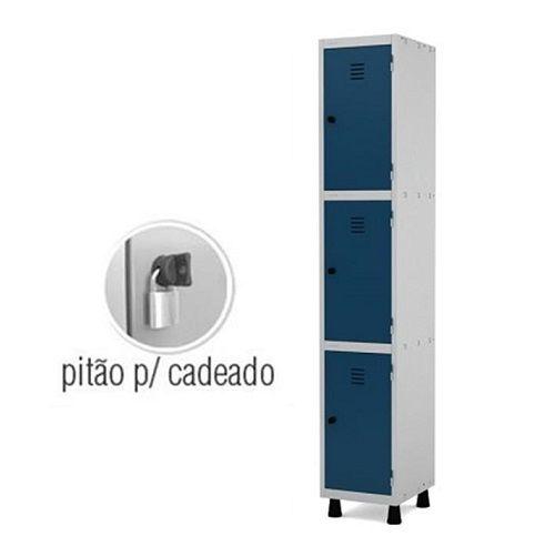 Roupeiro de Aço 3 Portas Médias GRP-501/3 com Pitão para Cadeado