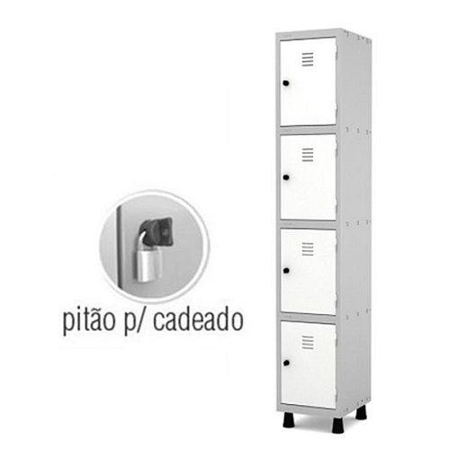 Roupeiro de Aço 4 Portas Pequenas GRP-501/4 com Pitão para Cadeado