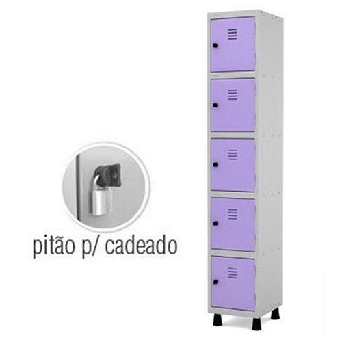 Roupeiro de Aço 5 Portas Pequenas GRP-501/5 com Pitão para Cadeado