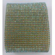 Manta de Strass Termocolante Azul - 10 x 45 cm unidade