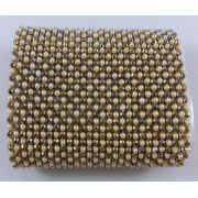 Manta de Strass Termocolante Perola / Black Diamond - 3mm - 10 x 45 cm
