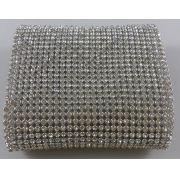 Micro Manta de Strass Prata Termocolante  10x30 cm
