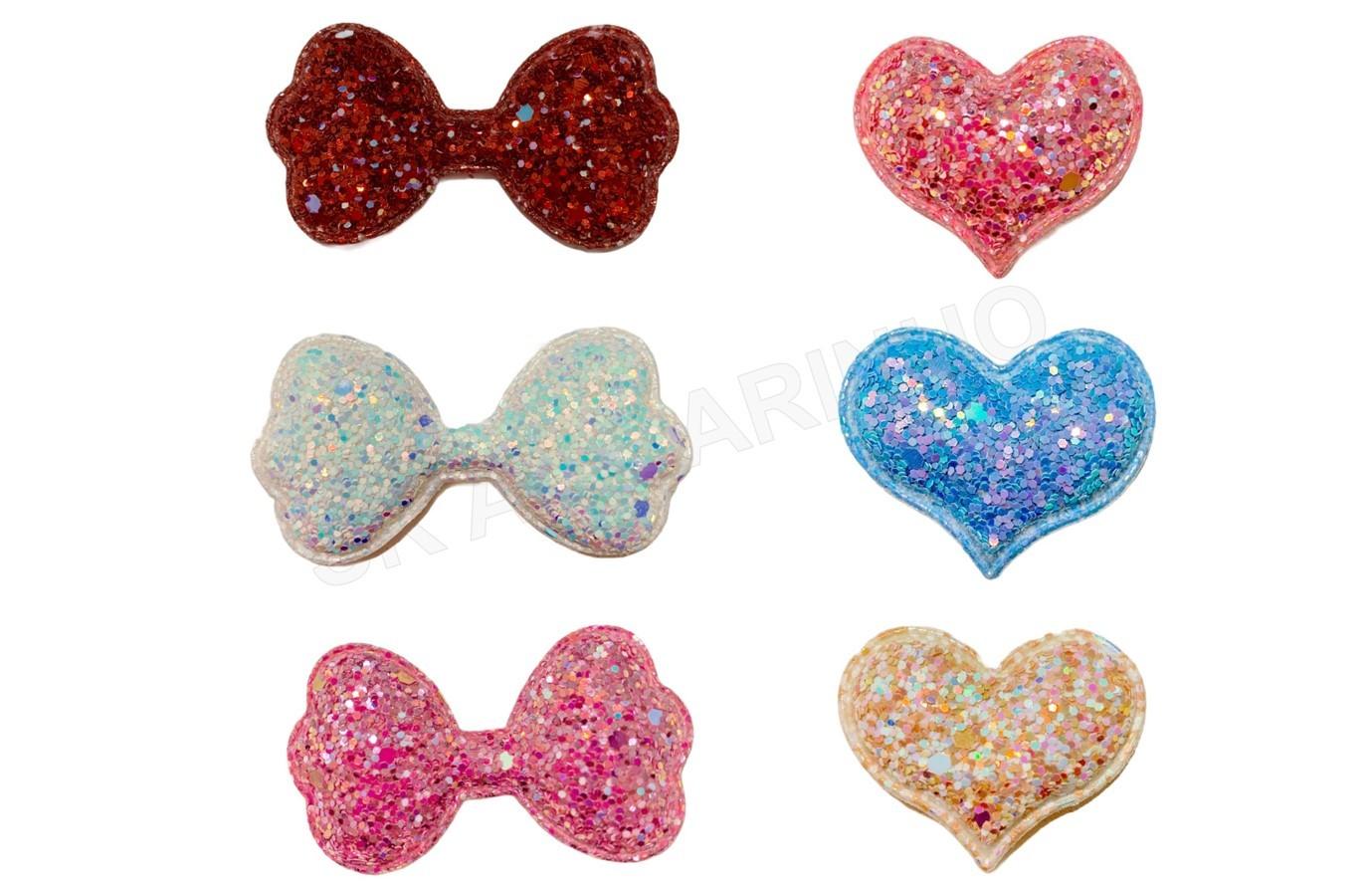Aplique Almofadado Glitter Laço e Coração - unitário
